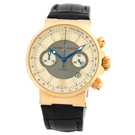 "Ulysse Nardin ""Maxi Marine Chronograph"" 18K Rose Gold Strap Watch"