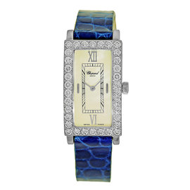 "Chopard ""Rectangular Classic"" 18K White Gold Diamond Strap Watch"