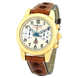 Chopard Monaco Mille Miglia Chronograph 18K Yellow Gold Strap Mens Watch