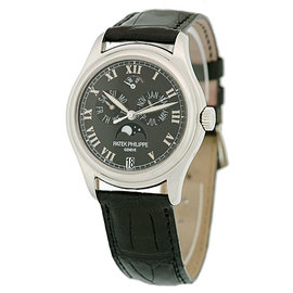 "Patek Philippe ""Annual Calendar"" 5056-P Platinum & Leather Automatic 37mm Mens Watch"