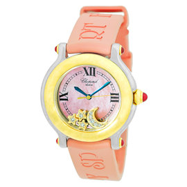 Chopard Happy Sport Moon & Stars 18K Yellow Gold and Stainless Steel Diamond Mens Watch