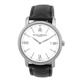 "Baume & Mercier ""Classima XL"" Stainless Steel & Leather Quartz 42mm Mens Watch"