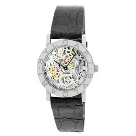 Bulgari Skeleton 18K White Gold Strap Mens Watch