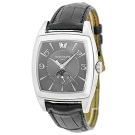 "Patek Philippe 5135 ""Gondolo Calendario"" 18K White Gold & Leather 38mm Mens Watch"