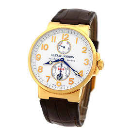 "Ulysse Nardin ""Maxi Marine Chronometer"" 18K Rose Gold Strap Mens Watch"