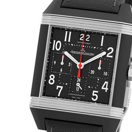 Jaeger LeCoultre Reverso Squadra GMT Stainless Steel & Black Rubber Chronograph 41mm Strap Watch