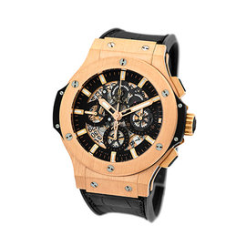 "Hublot ""Big Bang Aero Bang Skeleton Chronograph 18K Rose Gold "" Strapwatch 44mm Mens Watch"