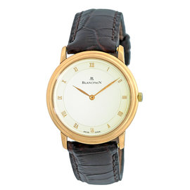 Blancpain Villeret Automatic 18K Rose Gold Mens Strap Watch