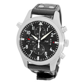 "IWC ""Pilot"" Double Split Second Stainless Steel Chronograph Automatic Strap Watch"