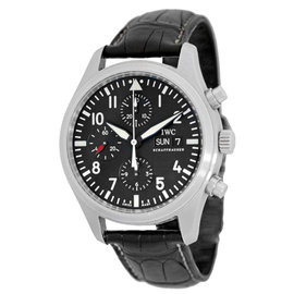 """IWC """"Classic Pilot"""" Stainless Steel Automatic Chronograph Strapwatch Mens Watch"""