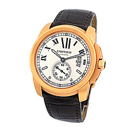 Cartier Calibre De Cartier 18K Rose Gold Strap Mens Watch