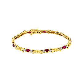 14K Yellow Gold with Ruby, Diamond Bracelet