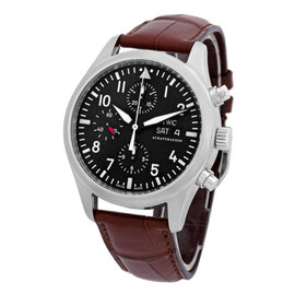 """IWC """"Classic Pilot's Chronograph Automatic"""" Stainless Steel Mens Watch"""