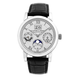 A. Lange & Sohne Langematik 310.025 Platinum & Leather Automatic 38.5mm Mens Watch