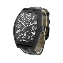 """Franck Muller """"Casablanca"""" 8880 PVD Stainless Steel & Leather Automatic 39mm Mens Watch"""