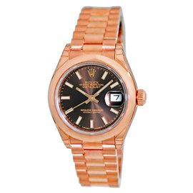 """Rolex Datejust """"President"""" 18K Rose Gold Chocolate Dial Automatic 28mm Womens Watch"""