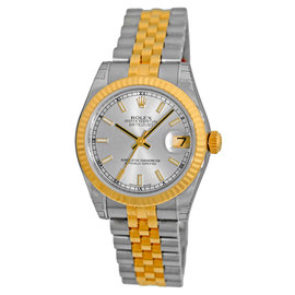 "Rolex ""Datejust"" Stainless Steel & 18K Yellow Gold Silver Dial Automatic 31mm Unisex Watch"