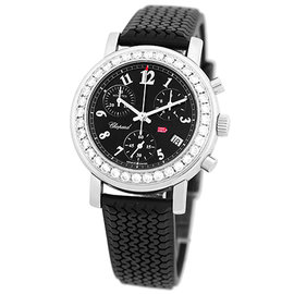 "Chopard ""Diamond Mille Miglia Chronograph"" Stainless Steel & Black Rubber Strap 33mm Womens Watch"