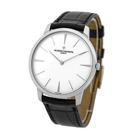 "Vacheron Constantin ""Patrimony Grand Taille"" 18K White Gold & Leather 40mm Mens Watch"