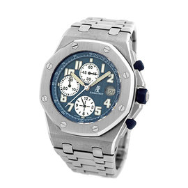 "Audemars Piguet ""Royal Oak Offshore"" Stainless Steel Blue Dial Automatic 44mm Mens Watch"