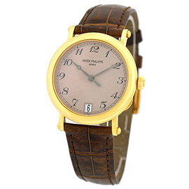 "Patek Philippe 5053-J ""Officer's"" 18K Yellow Gold & Leather Automatic 36mm Mens Watch"
