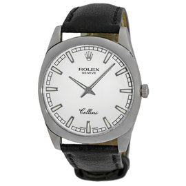 """Rolex Cellini """"Danaos"""" 4243 18K White Gold & Leather White Dial 38mm Mens Watch"""