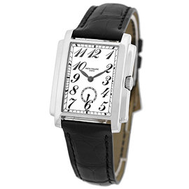 "Patek Philippe 5024-G ""Gondolo"" 18K White Gold & Leather 30mm Mens Watch"