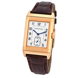 Jaeger LeCoultre Reverso Duo 270.2.54 18K Rose Gold & Leather 26mm Manual Mens Watch