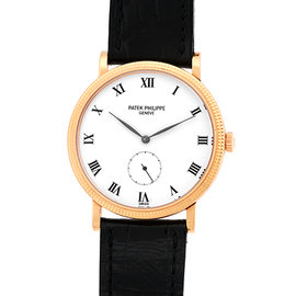 "Patek Philippe ""Calatrava"" 3919-R 18K Rose Gold & Leather 34mm Manual Mens Watch"
