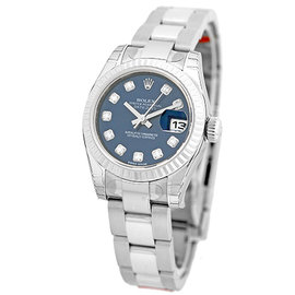 Rolex Datejust 179384 Stainless Steel Blue Diamond Dial Automatic 26mm Womens Watch