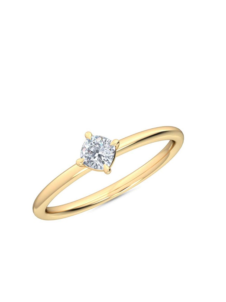 0.25 Ct Cushion Cut North-South Petite Lab Grown Diamond Ring in 14K Yellow Gold