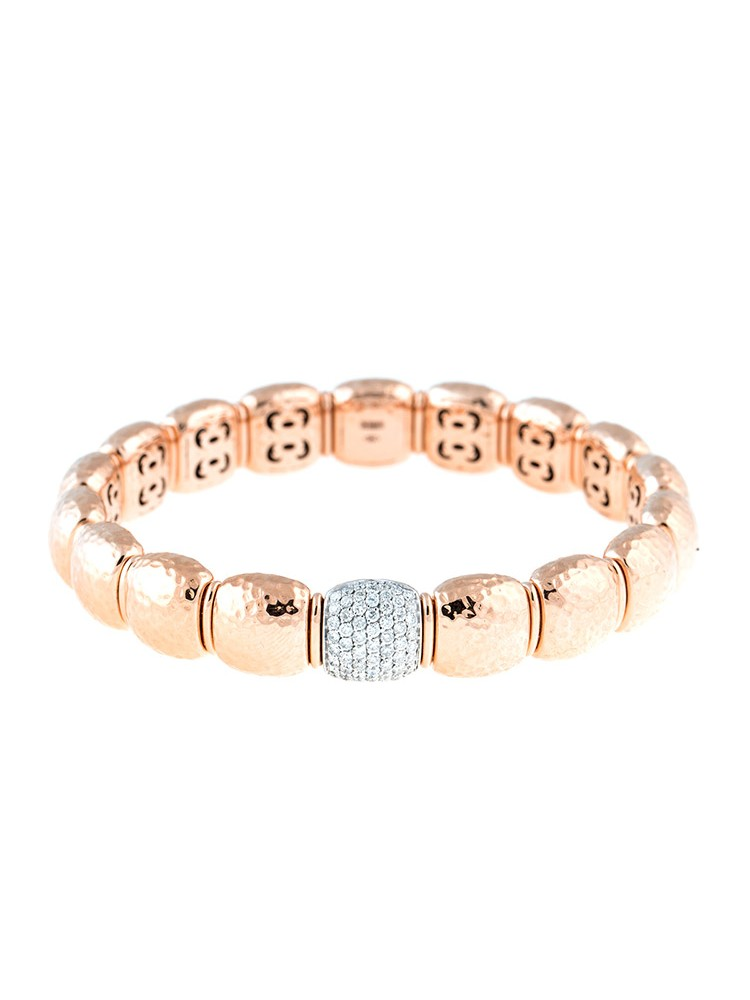 Stretch Collection 18K Two Tone Gold Diamonds Bracelet