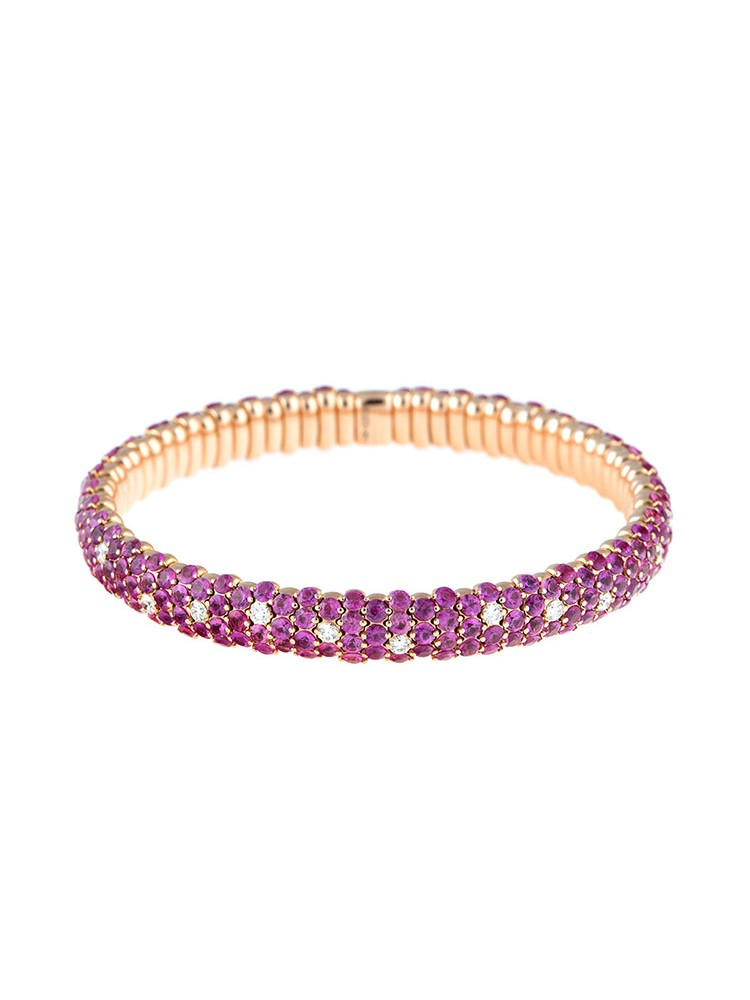Stretch Collection 18K Rose Gold Diamonds and Pink Sapphires Bracelet