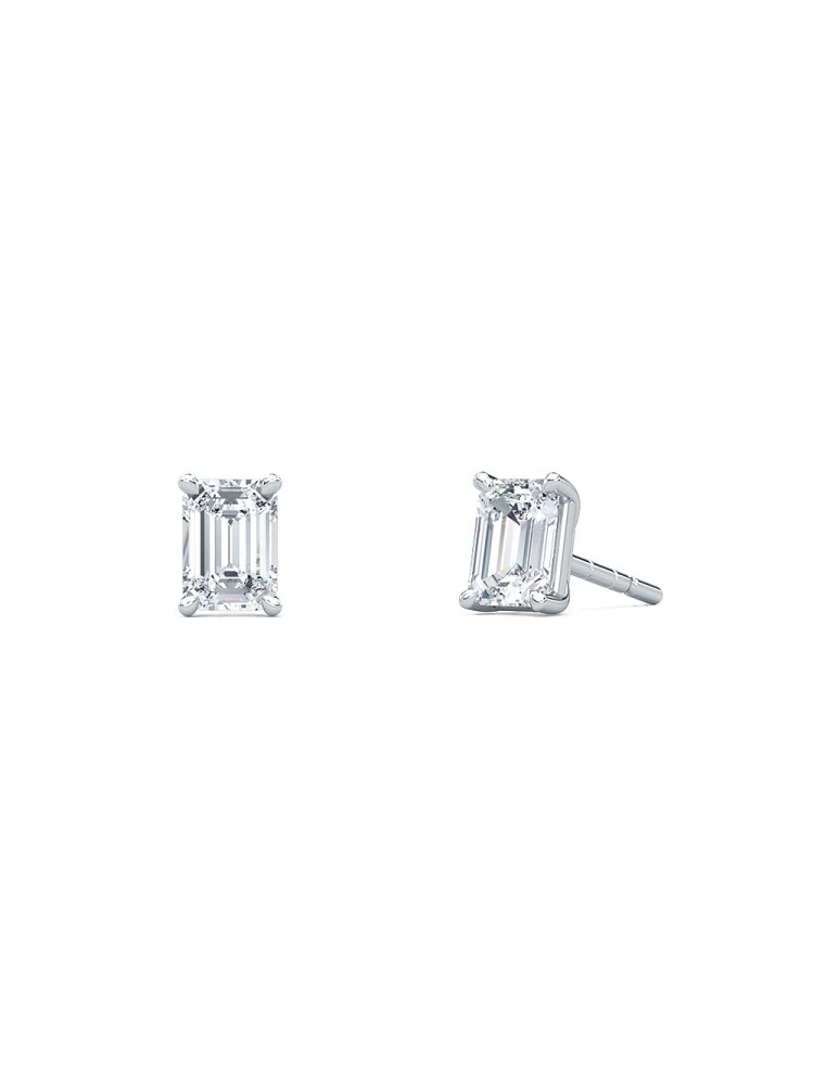 0.50 Emerald Shape Lab-Grown Diamond Earring Studs set in 14K White Gold