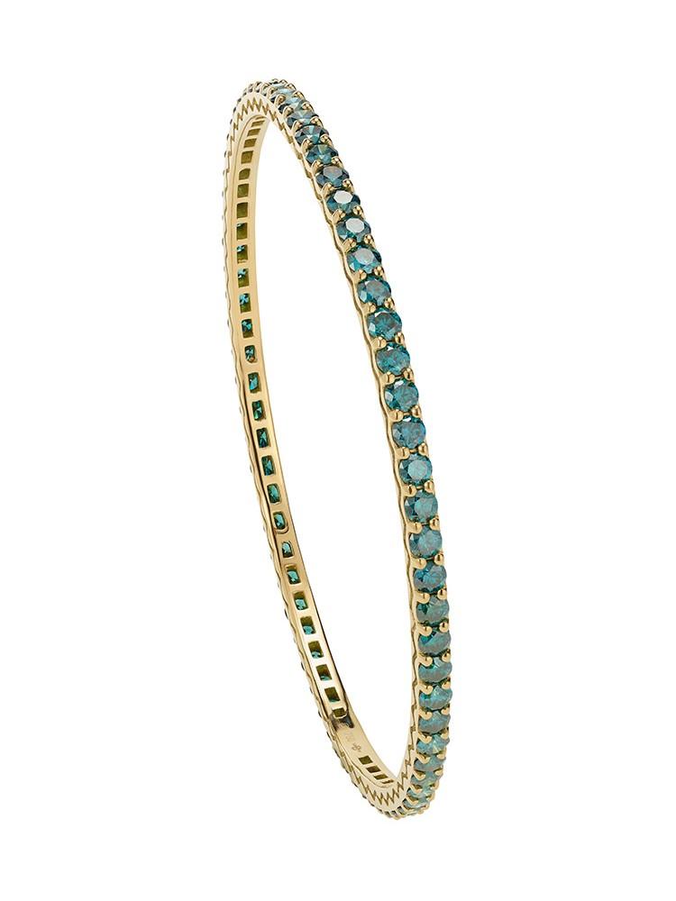 18K Yellow Gold Handset Blue Diamonds Pesak Bracelet