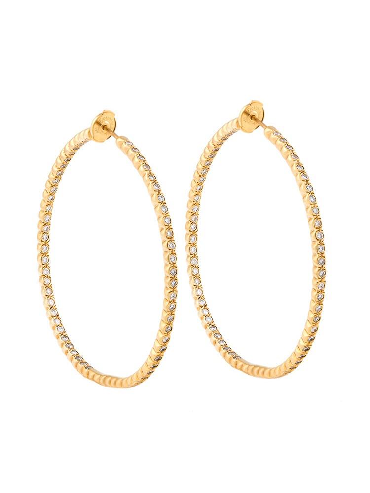 18K Yellow Gold Handset White Diamonds Jara Earrings