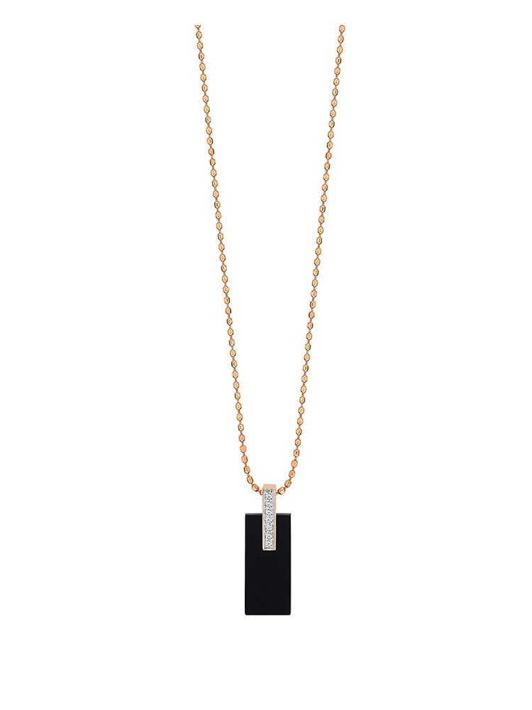 GINETTE NY 18K Rose Gold Mini Onyx And Diamond Art Deco Necklace