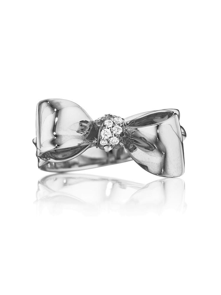 18K Gold Small Bow Diamond Ring