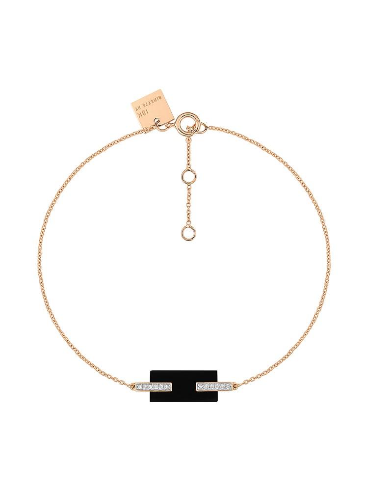 GINETTE NY 18K Rose Gold Mini Onyx And Diamond Art Deco Bracelet