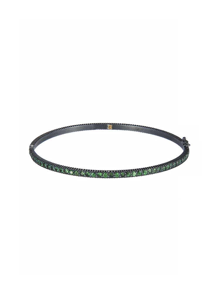 Yossi Harari Jewelry Oxidized Gilver Tsavorite Lilah Bangle