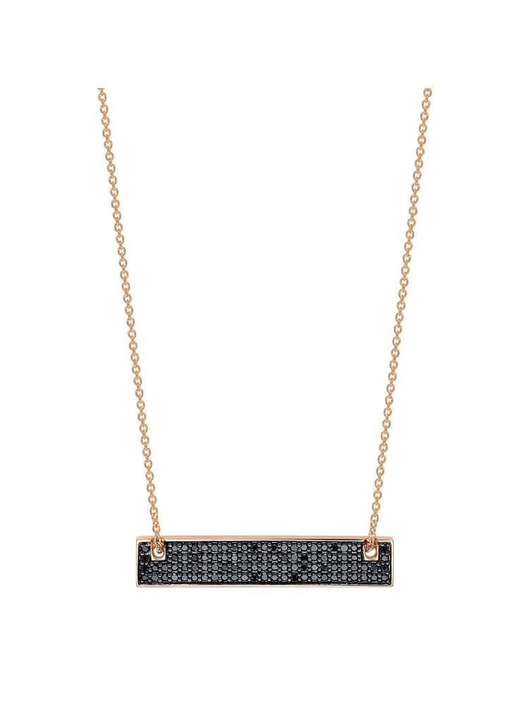 GINETTE NY 18K Rose Gold Mini Black Diamond Baguette On Chain