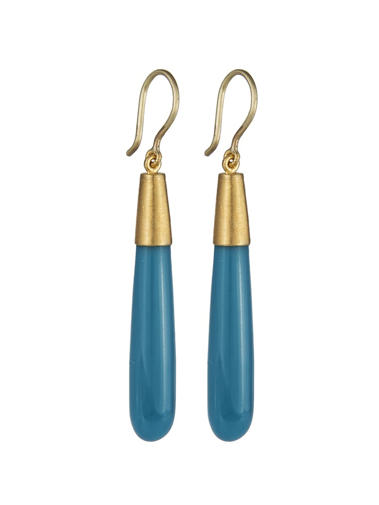 Yossi Harari Jewelry Roxanne 24k Gold Turquoise Jane Earrings