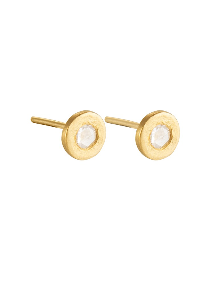 Yossi Harari Jewelry Roxanne 24k Gold Rose-Cut Diamond Mica Stud Earrings