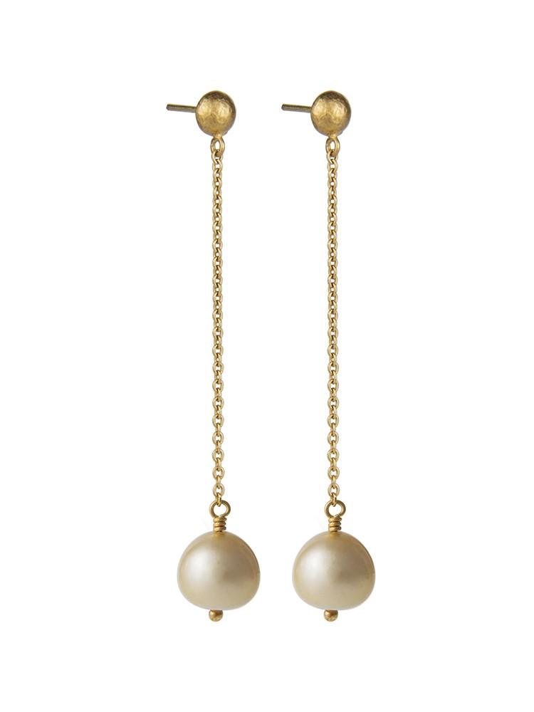Yossi Harari Jewelry Roxanne 18k Gold Cultured Pearl Chain Mica Earrings
