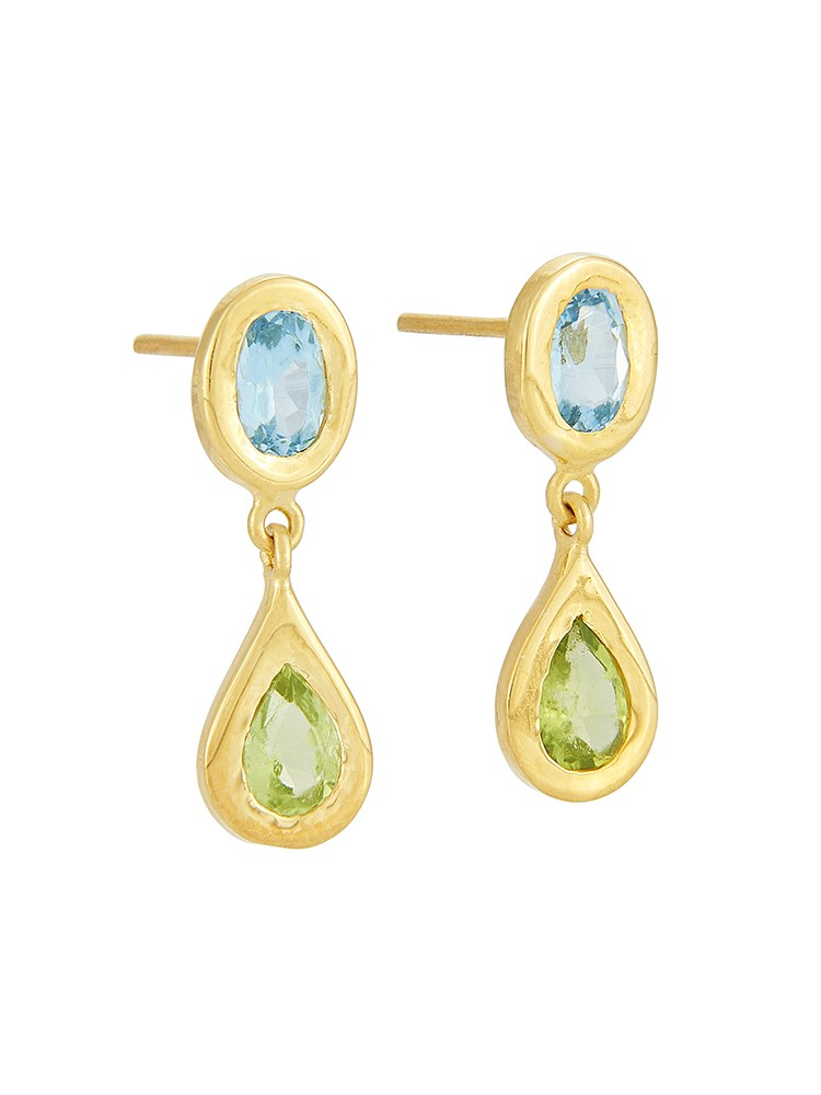Yossi Harari Jewelry Roxanne 18k Gold Blue Topaz & Peridot Mica Earrings
