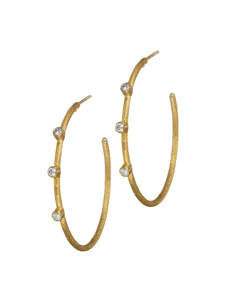 Yossi Harari Jewelry 24k Gold Diamond Jane Hoop Earrings