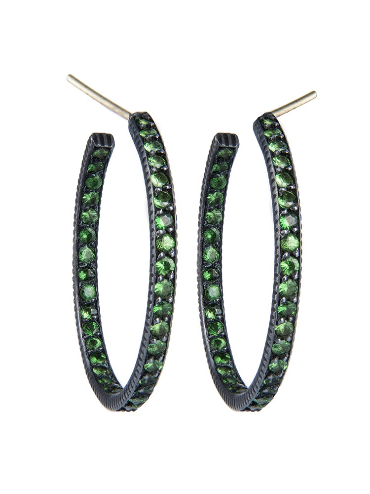 Yossi Harari Jewelry  Oxidized Gilver Pave Tsavorite Lilah Hoop Earrings
