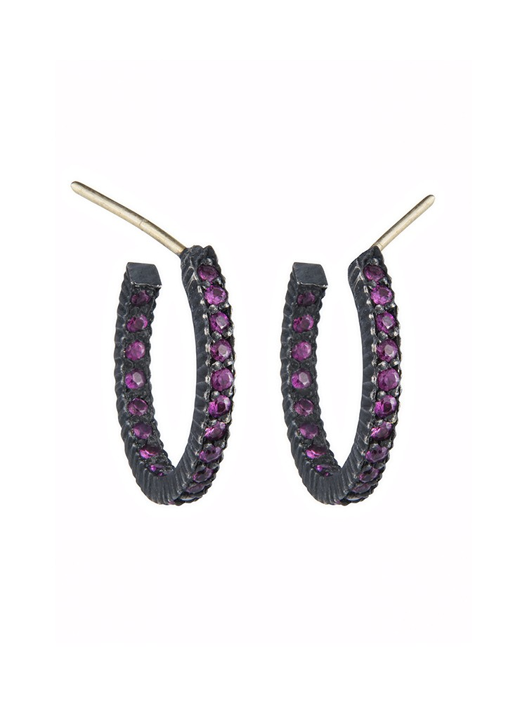 Yossi Harari Jewelry Oxidized Gilver Ruby Pavé Lilah Hoop Earrings