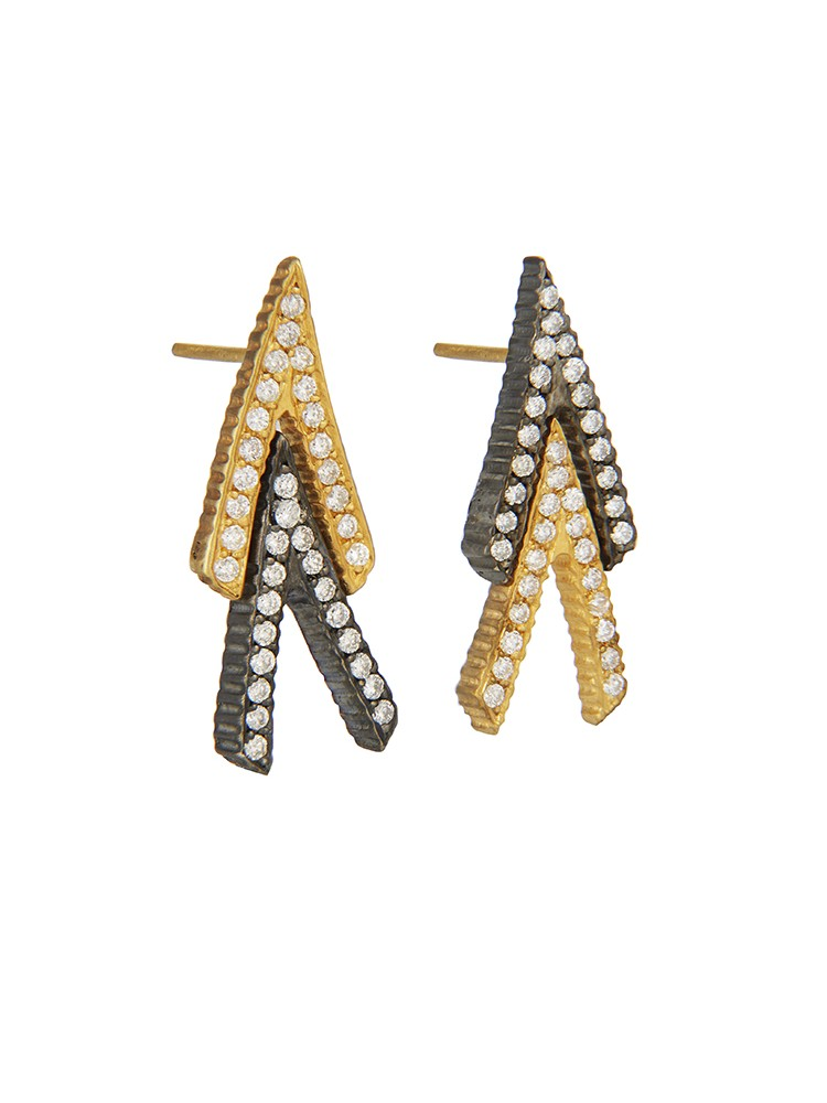 Yossi Harari Jewelry 18k Gold White Diamond Lilah Chevron Earrings
