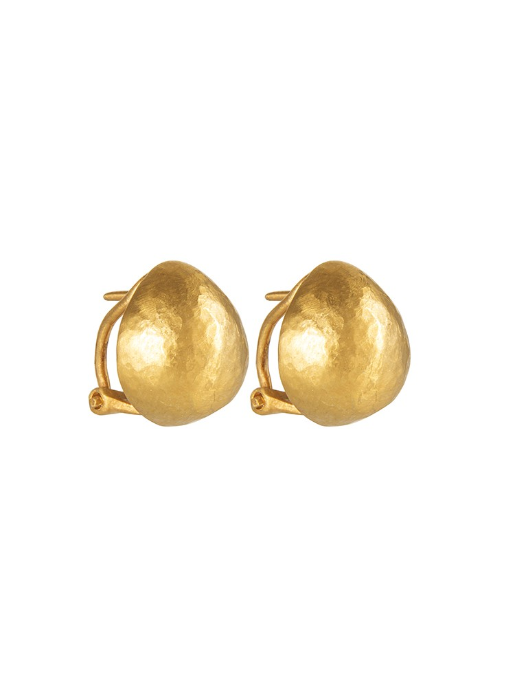 Yossi Harari Jewelry 24k Gold Small French Clip Roxanne Earrings